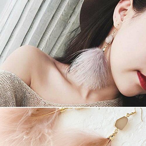 耳環簡約氣質水晶羽毛流蘇長款耳環【DD1709229】BOBI1130
