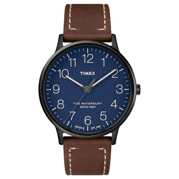 【go錶趣】TIMEX/天美時 Waterbury系列 手錶/TXTW2R25700 藍色面/咖啡皮革錶帶