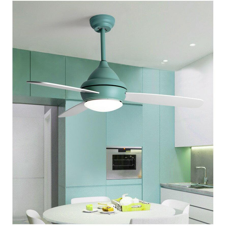 北歐風扇燈現代簡約客廳餐廳吊扇燈創意馬卡龍兒童臥室帶風扇吊燈ATF 7