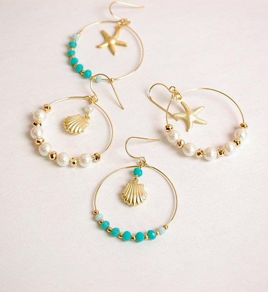 浪漫海洋貝殼海星夾式耳環Shell & Star Fish Hoop Earring