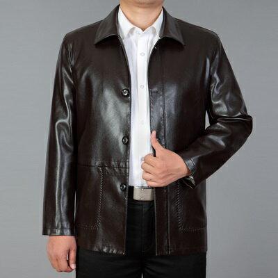 皮衣夾克外套-秋季翻領純色西裝男夾克2色73pn32【獨家進口】【米蘭精品】 2