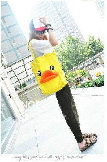 =優生活=黃色小鴨 側背包 側肩包 帆布包 托特包 B.Duck造型