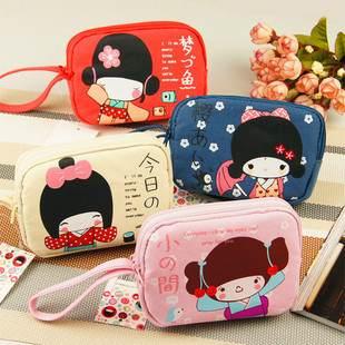 =優生活=日本安古奈子雙拉鍊零錢包 雜貨手機包 小錢包 鑰匙包
