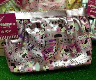 =優生活=日本進口 迪士尼系列 米妮亮面化妝包 收納包 筆袋