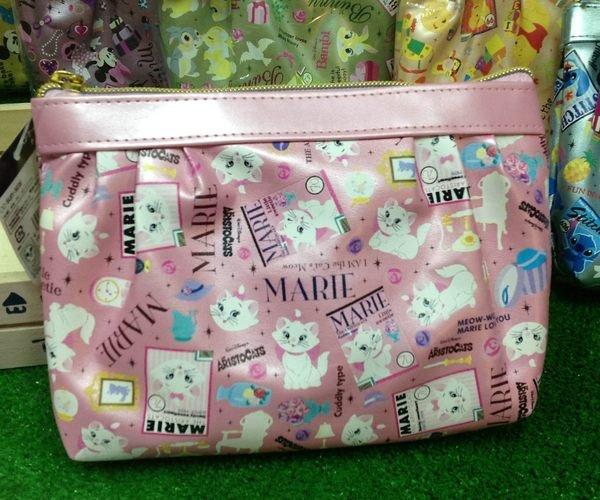=優生活=日本進口 迪士尼系列 瑪麗貓亮面化妝包 收納包 筆袋