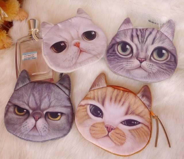 =優生活=日本原宿喵星人零錢包 化妝包 貓咪造型錢包 逼真貓咪錢包