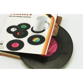=優生活=歐美流行黑膠唱片造型杯墊 婚禮小物 創意小物 聖誕節禮物 新版本