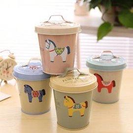 =優生活=韓國小清新小木馬馬口鐵盒 密封鐵盒附蓋 收納桶