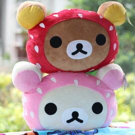 =優生活=拉拉熊 懶懶熊毛絨草莓頭汽車頭枕 靠墊 抱枕 枕頭 兩色