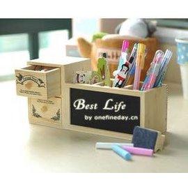 =優生活=韓國文具 原木筆筒 雙抽屜筆筒 小黑板留言版 收納盒 創意筆筒