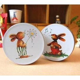 =優生活=韓國雜貨 zakka雜貨 森林系列小兔子鐵盒 圓形馬口鐵收納盒 飾品盒