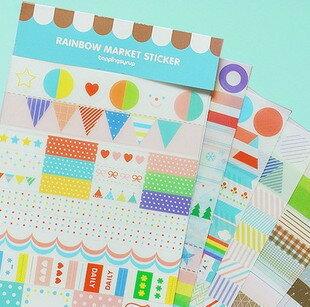 =優生活=韓國文具 RAINBOW 可愛透明裝飾貼紙 標簽貼日記貼 藍色人生 6張入