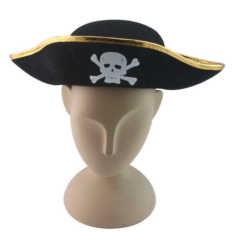 =優生活=派對用品金邊骷顱頭成人海盜帽 虎克船長 舞會 cosplay道具 海盜帽 搞怪 尾牙