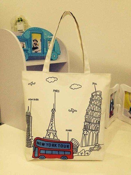 =優生活=韓國 巴黎鐵塔 白色鐵塔購物包 休閒包 媽媽包 補習包 單肩包 側背包 手提包