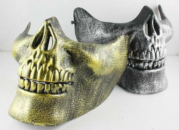 =優生活=美軍裝備 骷髏戰士3代 半臉鬼頭恐怖面具 CS 軍迷野戰面具 表演面具