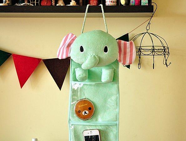 =優生活=憂傷馬戲團 大象收納袋 薄荷象壁掛收納袋 三格掛袋 薄荷綠大象收納袋