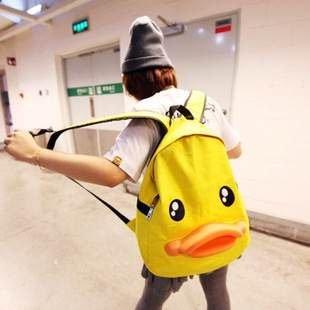=優 =黃色小鴨 學院風學生包 後背包 後背包 雙肩後背包