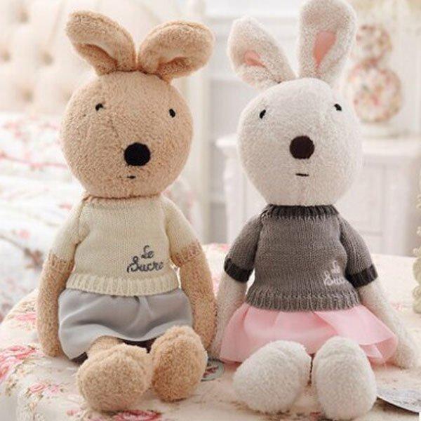 =優生活=日本正品 le sucre 砂糖兔 法國兔娃娃 滿月禮物 結婚禮物 情人節禮物 毛衣裙30公分