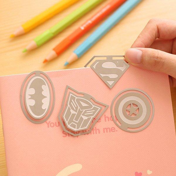 =優生活=可愛創意書籤 英雄聯盟 蝙蝠俠 超人 美國隊長 變形金剛 卡通造型金屬書籤