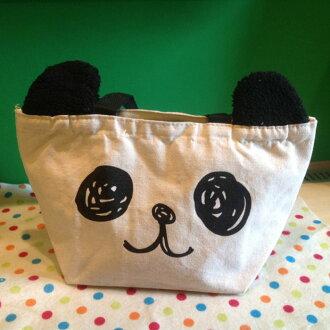 =優生活=日本樂天熱賣可愛呆萌熊貓帆布托特包 手提袋 手拎包 便當袋 飯盒袋 毛絨耳朵
