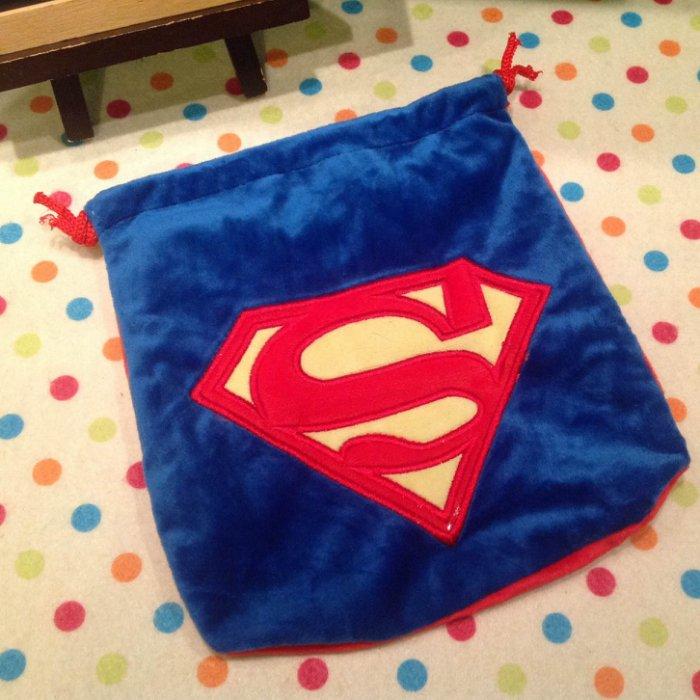 =優生活=超人Super Man標誌 經典藍色抽繩束口袋 刺繡束口袋 拍得利相機包 收納袋 雜物袋 萬用袋
