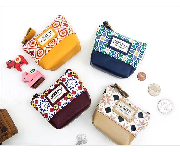=優生活=韓國精品 民俗風格 幾何圖形零錢包 收納包 鑰匙包 小錢包