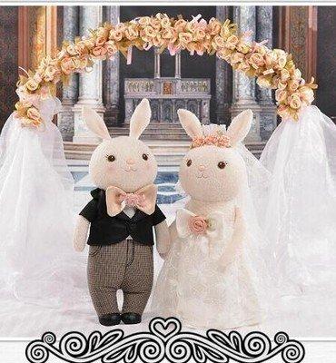 =優生活=正版咪兔Metoo提拉米兔婚紗款 結婚娃娃 婚慶禮物 婚禮小物 婚禮佈置 毛絨娃娃 精美包裝 一對650元