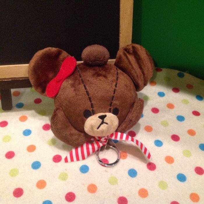 =優生活=日本 小熊學校 line熊 咖啡熊 可愛熊立體毛絨鑰匙包 鑰匙扣 零錢包 鑰匙收納包