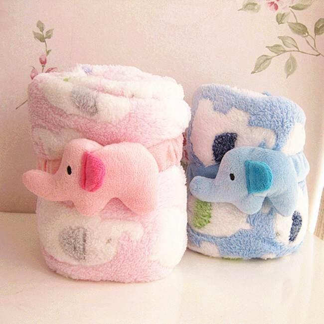 =優生活=超可愛大象午睡毯子 珊瑚絨毛毯 空調毯 附贈大象束繩