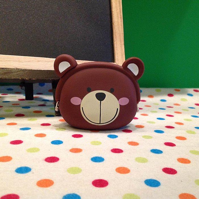 =優生活=可愛咖啡熊 熊頭矽膠零錢包 小錢包 鑰匙包 磁鐵錢包