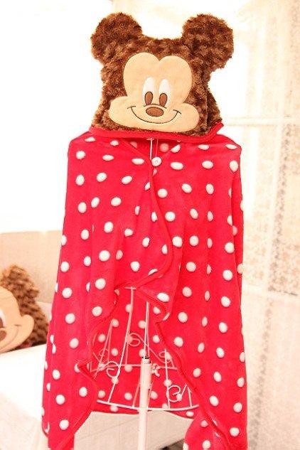 =優生活=日本尾單 迪士尼米妮米奇卡通宅人披肩斗篷 連帽披肩 懶人毯 小蓋毯