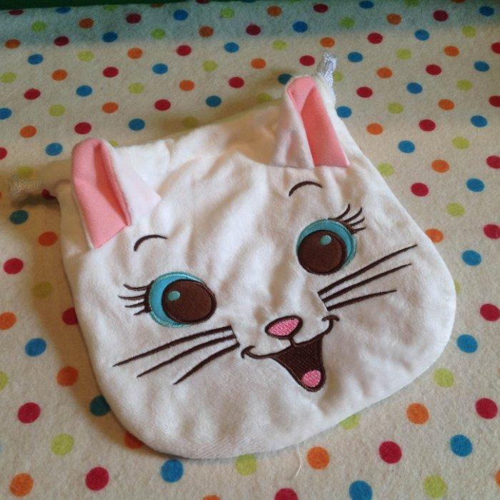 =優生活=迪士尼 瑪莉貓立體束口袋 收納袋 化妝包 可放拍立得相機 化妝品