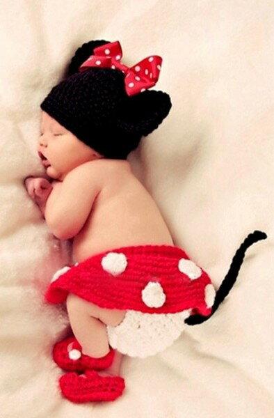 =優生活=新生兒可愛服飾 米妮造型 寶寶攝影服裝服飾 寶寶滿月百天拍照服 寶寶滿月禮