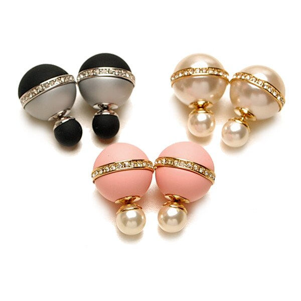 優雅環鑽穿式珠扣耳環