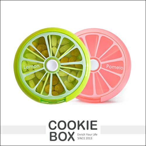 一周 藥盒 7格 透視 保健食品 隨機出貨 置物 水果 柳丁 檸檬 造型 按鍵式 轉出 旅行 外出 *餅乾盒子*