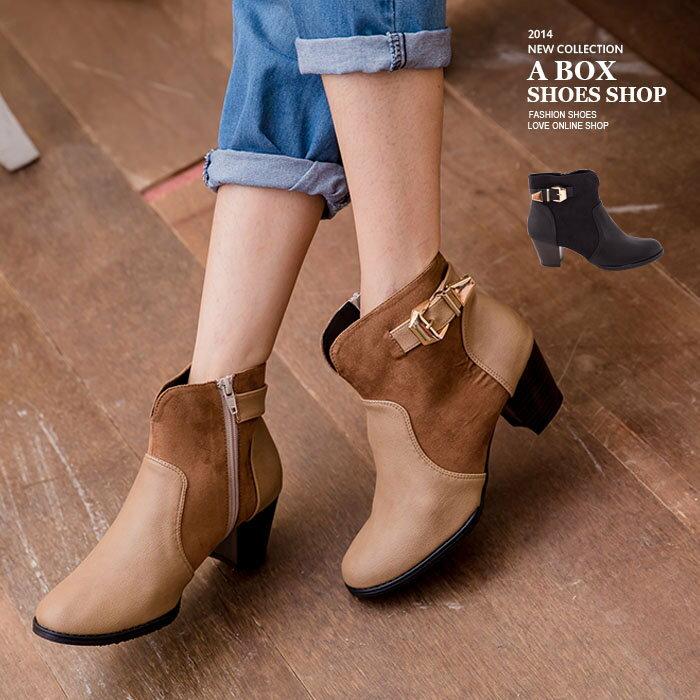 ~KP661~明星風範麂皮拼接皮革 側拉鍊金屬扣環 粗低跟短靴 2色