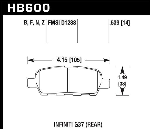 Hawk Performance HB600Z.539 Disc Brake Pad Disc Brake Pad; PC w/0.539 Thickness; 8332e0a69fa611955e2b5b40815afbe0