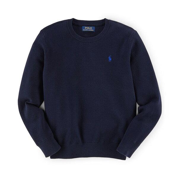 美國百分百:美國百分百【RalphLauren】針織衫RL線衫長袖Polo小馬圓領素面男深藍S號F895