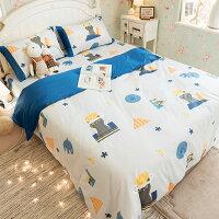 居家生活寢具推薦60支 精梳棉 床包 被套 兩用被 單人/雙人/加大/kingsize床包 [躲貓貓(床包插畫) ] 台灣製造 棉床本舖 好窩生活節。就在Annahome棉床本舖居家生活寢具推薦
