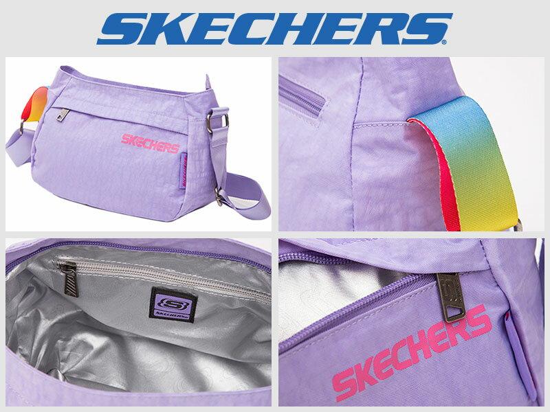 Shoestw【S04870】SKECHERS 側背包 輕量 薰衣草淺紫 多拉鍊層 多功能包 小側背包 1