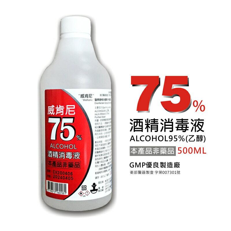 威肯尼 75%酒精消毒液 乾洗手 500ml 加贈噴頭 非藥品 現貨 1