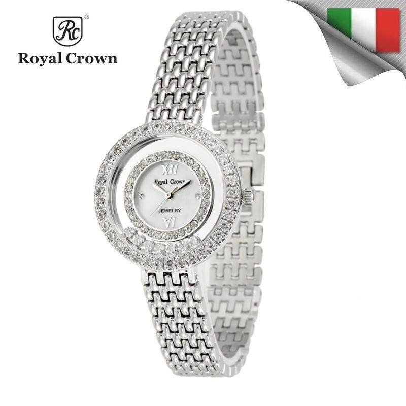 日本機芯 華貴時尚滾鑽石英女錶 全鋼錶帶 雙色可選 3628S 免運費 義大利品牌精品手錶 蘿亞克朗 Royal Crown