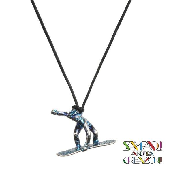 【SAC義大利】青銅項鍊吊飾-滑雪者(雪板SNOWBOARDER)義大利傳統飾品工藝/SAC022