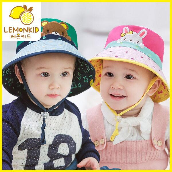 Lemonkid◆夏日防曬趴趴熊兔雙面盆帽綁帶