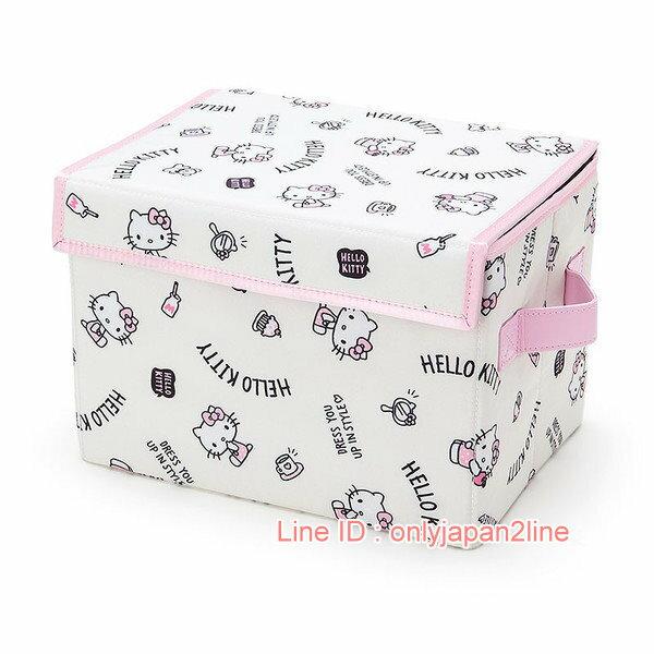 【真愛日本】17022400018 可收納折疊箱S-KT側坐粉衣+AAB 三麗鷗 Hello Kitty 凱蒂貓  收納盒 生活雜貨 收納椅