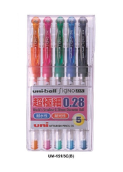 Uni三菱 0.28 超極細中性筆 五色組 UM-151-028-5C-B (橘、粉紅、翠綠、淺藍、深藍) 【預購】