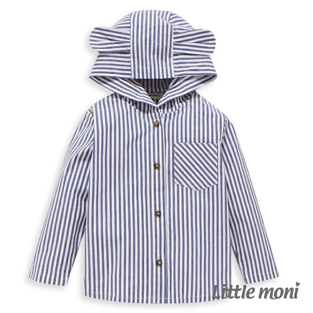 Little moni 兔耳連帽襯衫式外套-海軍藍