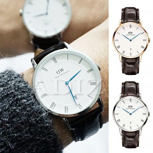 【Cadiz】瑞典正品 Daniel Wellington 手錶 1102DW玫瑰金 1122DW銀色 DAPPER YORK 深棕色鱷魚皮革 羅馬藍色指針日期窗 38mm 對錶 情侶錶 男女錶 兩年..