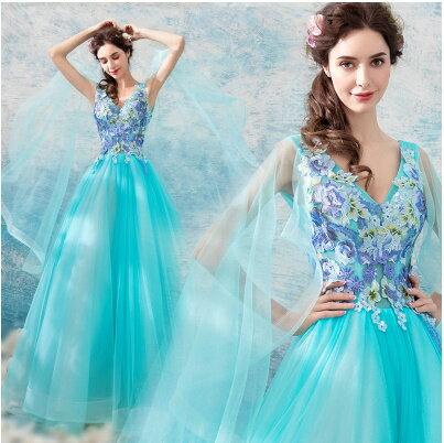 天使嫁衣:天使嫁衣【AE1226】水藍色斑斕剌繡花朵性感深V外拍禮服˙預購訂製款