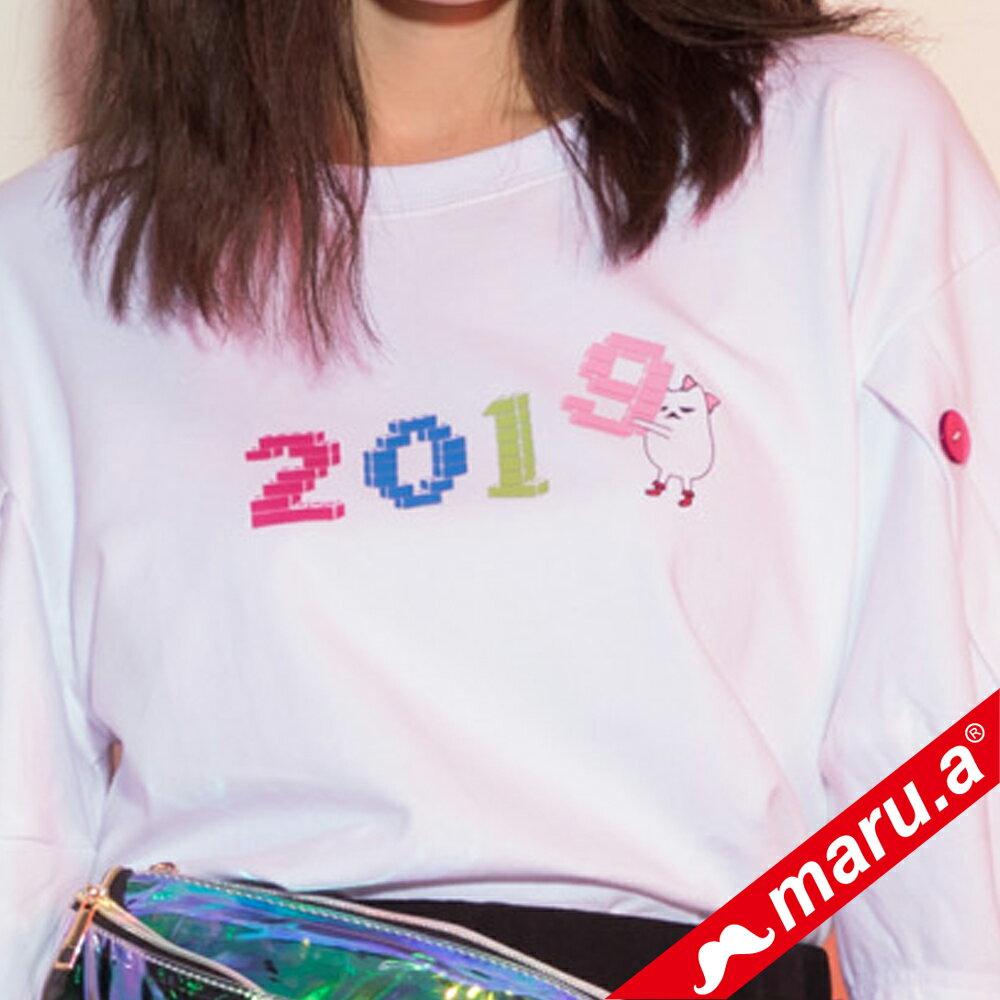 【maru.a】2019miru刺繡鈕扣手袖上衣(2色) 9321215 2